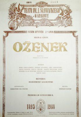 """Afisz zapowiadający premierę sztuki wg powieści Mikołaja Gogola """"Ożenek"""" w Teatrze im. Juliusza Słowackiego w 1988."""