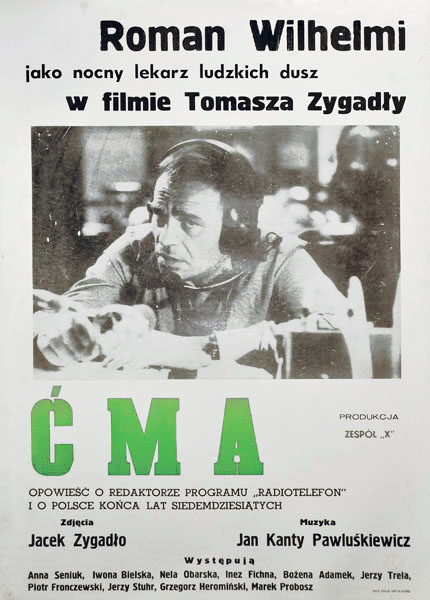"""Oryginalny polski plakat filmowy do polskiego filmu """"Ćma"""" w reżyserii Tomasza Zygadły z Romanem Wilhelmim w roli głównej. Plakat z roku 1984."""