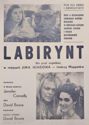 """Plakat filmowy do angielskiego filmu """"Labirynt"""" w reżyserii Jima Hensona"""
