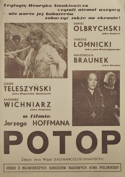 """Plakat filmowy do ekranizacji drugiej części trylogii Henryka Sienkiewicza """"Potop"""". Reżyseria Jerzy Hoffman. Plakat z roku 1984."""