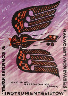 Oryginalny polski plakat ogłaszający X Konkurs Kapel-Instrumentalistów i Śpiewaków Ludowych na zamku w Niepołomicach 23-25.05.1986 r. Projekt plakatu: *Jerzy Napieracz*