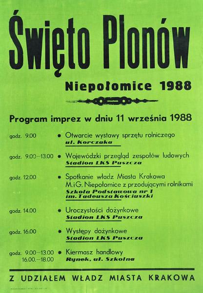 Polski plakat (afisz) ogłaszający Święto Plonów 11 września 1988 w Niepołomicach.