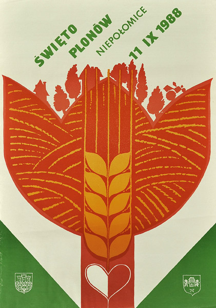 Polski plakat ogłaszający Święto Plonów 11 września 1988 w Niepołomicach.