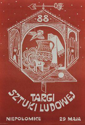 Oryginalny polski plakat ogłaszający Targi sztuki ludowej 29 maja 1988 w Niepołomicach. Projekt plakatu: Jerzy Napieracz