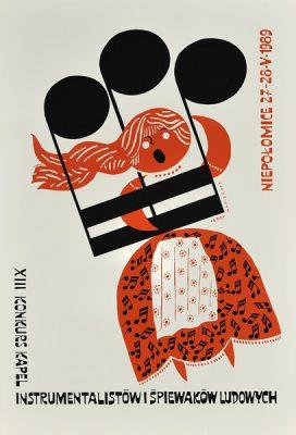 Polski plakat ogłaszający XIII Konkurs Kapel-Instrumentalistów i Śpiewaków Ludowych na zamku w Niepołomicach 27-28.05.1989 r. Projekt plakatu: *Jerzy Napieracz*