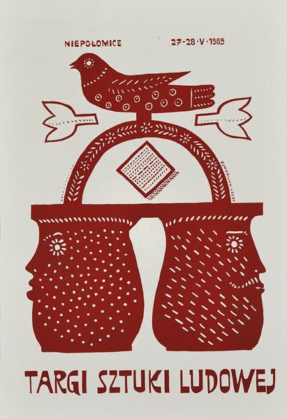 Polski plakat ogłaszający Targi sztuki ludowej 27-28 maja 1989 w Niepołomicach. Projekt plakatu: Jerzy Napieracz