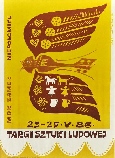 Polski plakat ogłaszający Targi sztuki ludowej 23-25 maja 1986 w Niepołomicach. Projekt plakatu: Jerzy Napieracz