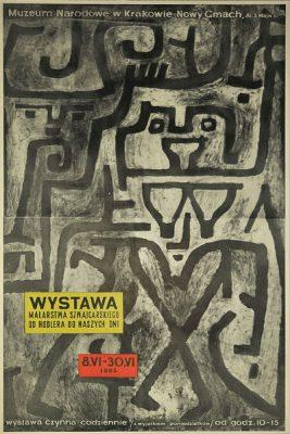"""Plakat do wystawy """"malarstwa szwajcarskiego od Hodlera do naszych dni"""" w Muzeum Narodowym w Krakowie w Nowym Gmachu przy al. 3 Maja w czerwcu 1965."""