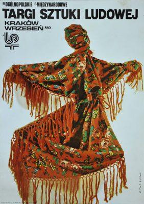 Polski plakat ogłaszający Targi sztuki ludowej we wrześniu 1980 w Krakowie. Projekt plakatu B. Pawle i A. Marek