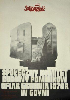 Plakat Społecznego Komitetu Budowy Pomników Ofiar Grudnia 1970 r. w Gdyni. Projekt plakatu: Henryk Fajlhauer (1942-1999)