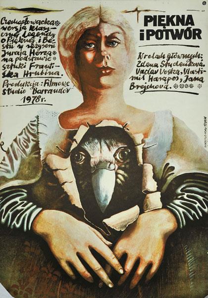"""Plakat filmowy do czechosłowackiej wersji bajki *Piękna i Bestia* :  """"Piękna i potwór"""". Rezyseria: Jurij Herz. Projekt plakatu: Marek Płoza-Doliński"""