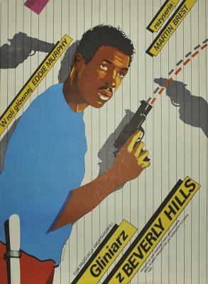 """Polski plakat do filmu amerykańskiego """"Gliniarz z Beverly Hills"""". Reżyseria: Martin Brest. Projekt plakatu: Maciej Kałkus"""