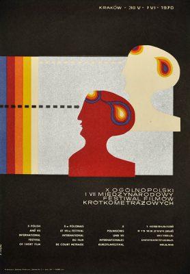 Plakat zapowiadający X Ogólnopolski VII Międzynarodowy Festiwal Filmów Krótkometrażowych w Krakowie w dniach 30.05 - 7.06.1970r. Projekt: K. Majka.