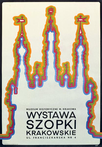Oryginalny polski plakat zapowiadający wystawę szopek krakowskich w Muzeum Historycznym m. Krakowa. Projekt plakatu: WR