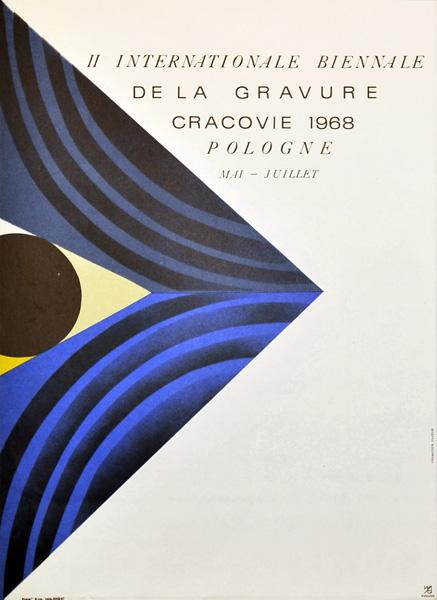 Plakat zapowiadający II Międzynarodowe Biennale Grafiki w Krakowie