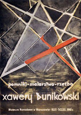 """Plakat wystawowy do wystawy """"Xawery Dunikowski. Pomniki - malarstwo - rzeźba"""" w Warszawie. Projekt niesygnowany"""