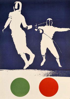 """Oryginalny polski plakat sportowy """"Szermierka"""". Projekt: WOJCIECH ZAMECZNIK"""