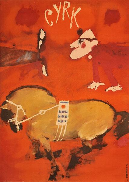 Oryginalny polski plakat cyrkowy przedstawiający tresera z końmi. Projekt plakatu: MACIEJ URBANIEC