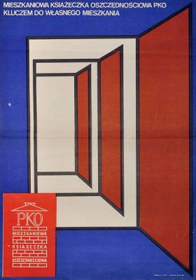 Oryginalny plakat reklamujący oszczędzanie w PKO (Powszechna Kasa Oszczędności). Plakat niesygnowany z lat 70-tych.