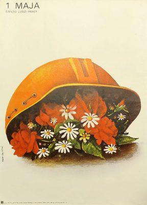 Oryginalny polski plakat propagandowy wydany z okazji święta 1 Maja. Projekt: MAREK PŁOZA-DOLIŃSKI