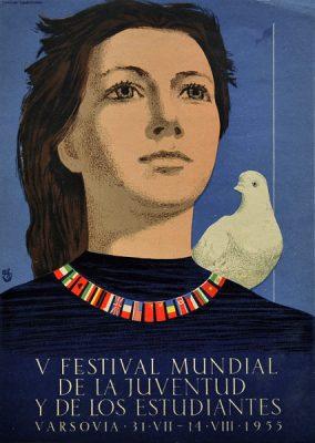 Oryginalny polski plakat reklamujący V Światowy Festiwal Młodzieży i Studentów