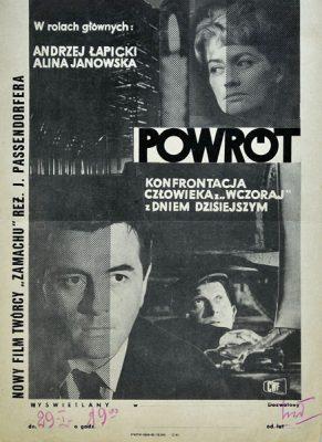 """Plakat filmowy do polskiego filmu """"Powrót"""". Reżyseria: Jerzy Passendorfer. Projekt niesygnowany"""