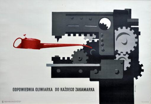 """Oryginalny polski plakat BHP  dotyczący bezpieczeństwa pracy """"Odpowiednia oliwiarka do każdego zakamarka"""". Projekt: WALDEMAR ŚWIERZY"""