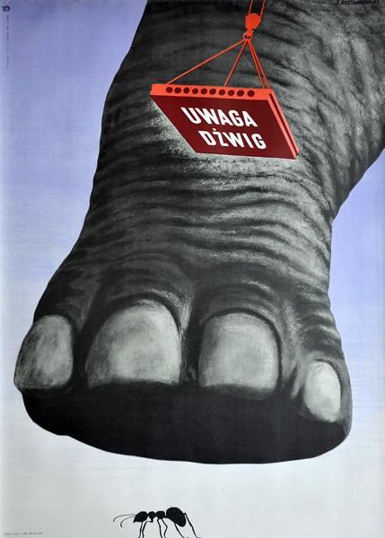 """Oryginalny polski plakat BHP  dotyczący bezpieczeństwa pracy """"Uwaga dźwig"""". Projekt: JERZY  PRZYGODZKI"""