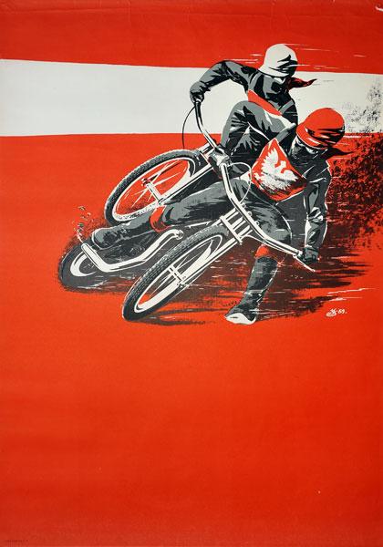 Oryginalny polski plakat sportowy prezentujący Wyścigi motocyklowe - Żużel. Projekt sygnowany inicjałem JS (?) 1959.