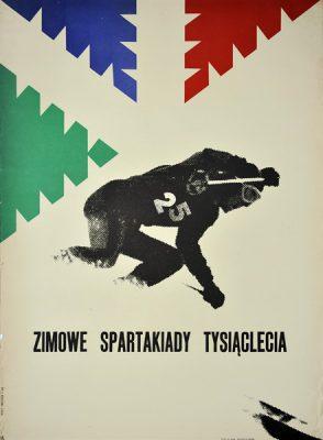 Oryginalny polski plakat sportowy ogłaszający Zimowe Spartakiady Tysiąclecia. Projekt: JERZY TREUTLER
