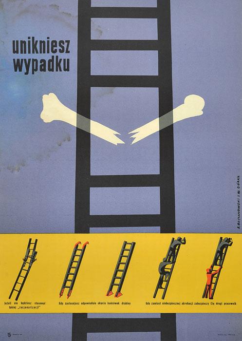 """Oryginalny polski plakat społeczny BHP """"Unikniesz wypadku"""" . Projekt: WIKTOR GÓRKA"""
