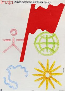 """Oryginalny plakat społeczny polityczny """"1 maja - międzynarodowe święto ludzi pracy"""". Projekt plakatu: ANDRZEJ NOWACZYK"""