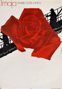 """Oryginalny plakat społeczny polityczny """"1 maja - święto ludzi pracy"""". Projekt plakatu: LECH MAJEWSKI"""
