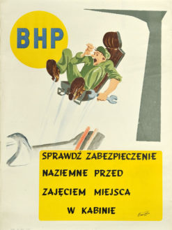 """Oryginalny polski plakat społeczny adresowany do pilotów """"Sprawdź zabezpieczenie naziemne przed zajęciem miejsca w kabinie"""". Projekt plakatu: JAN NOWIŃSKI"""
