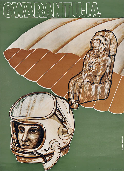 """Oryginalny polski plakat społeczny adresowany do pilotów lotniczych """"Gwatantują"""". Projekt plakatu: WIESŁAW KŁADŹ"""