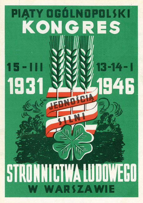 """Miniatura plakatu propagandowego """"Piaty Ogólnopolski Kongres Stronnictwa Ludowego w Warszawie w 1946 r. - Jednością silni"""" wydany w 1980 roku przez wydawnictwo Prasa z okazji Dni Prasy Ludowej w 1980 r."""