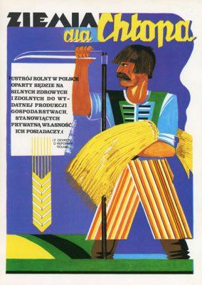 """Miniatura plakatu propagandowego """"Ziemia dla chłopa"""" wraz z fragmentem Dekretu o Reformie Rolnej wydany w 1980 roku przez wydawnictwo Prasa z okazji Dni Prasy Ludowej w 1980 r."""