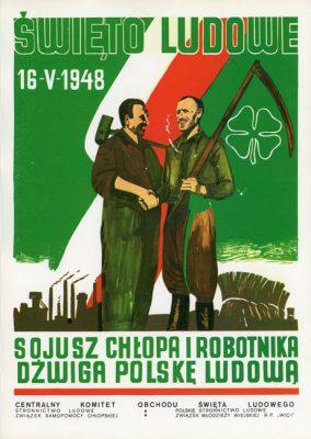 """Miniatura plakatu propagandowego """"Święto Ludowe 1948. Sojusz chłopa i robotnika dźwiga Polskę Ludową"""" wydany w 1980 roku przez wydawnictwo Prasa z okazji Dni Prasy Ludowej w 1980 r."""