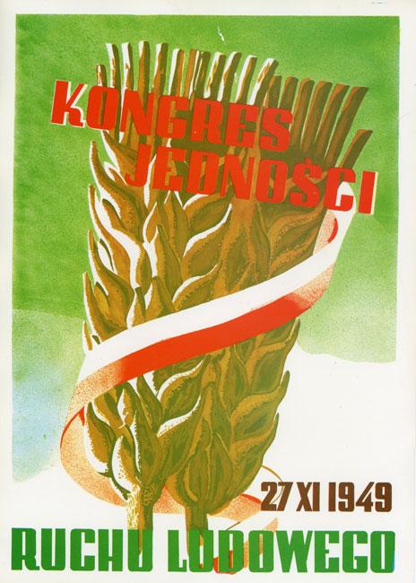 """Miniatura plakatu propagandowego """"Kongres Jedności Ruchu Ludowego w 1949 r."""" wydany w 1980 roku przez wydawnictwo Prasa z okazji Dni Prasy Ludowej w 1980 r."""