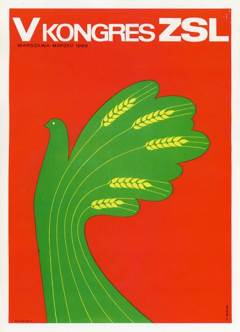 """Miniatura plakatu propagandowego """"V Kongres ZSL. Warszawa. Marzec 1969"""" wg oryginalnego projektu K. Śliwki"""