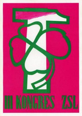"""Miniatura plakatu propagandowego """"III Kongres ZSL"""" wydany w 1980 roku przez wydawnictwo Prasa z okazji Dni Prasy Ludowej w 1980 r."""