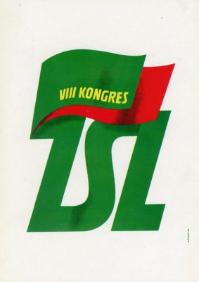 """Miniatura plakatu propagandowego """"VIII Kongres ZSL"""" wg projektu K. Śliwki wydany w 1980 roku przez wydawnictwo Prasa z okazji Dni Prasy Ludowej w 1980 r."""