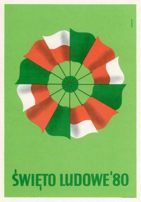 """Reprodukcja plakatu propagandowego """"Święto Ludowe '80"""" wg projektu K. Śliwki"""