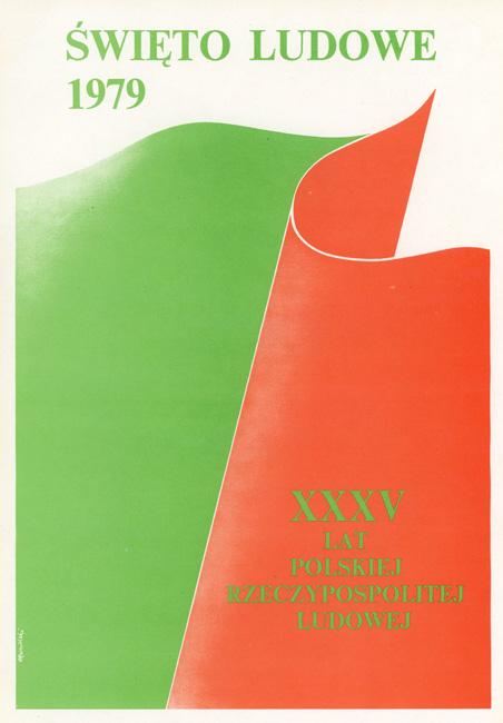 """Miniatura plakatu propagandowego """"Święto Ludowe 1979. XXXV lat Polskiej Rzeczypospolitej Ludowej"""" wg projektu Tomasza Rumińskiego"""
