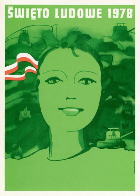 """Miniatura plakatu propagandowego """"Święto Ludowe 1978"""" wg projektu Witolda Mysyrowicza"""