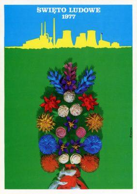 """Miniatura plakatu propagandowego """"Święto Ludowe 1949. Niech żyje Sojusz chłopów i robotników"""" wydany w 1980 roku przez wydawnictwo Prasa z okazji Dni Prasy Ludowej w 1980 r."""