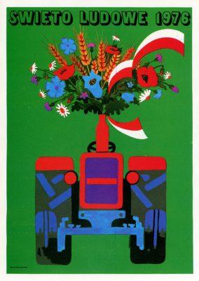 """Miniatura plakatu propagandowego """"Święto Ludowe 1976"""" wg. projektu Włodzimierza Terechowicza"""