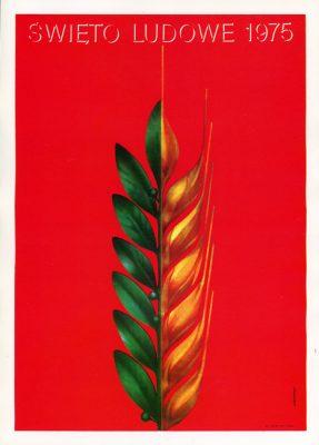 """Miniatura plakatu propagandowego """"Święto Ludowe 1975"""" wg projektu K. Śliwki"""
