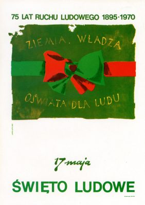 "Miniatura plakatu propagandowego ""75 lat Ruchu Ludowego 1895-1970"