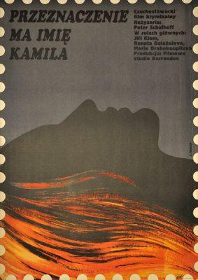 """Plakat filmowy do czechosłowackiego filmu kryminalnego """"Przeznaczenie ma na imię Kamila"""". Projekt plakatu: Elżbieta Procka"""